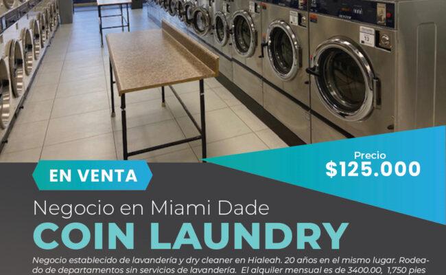 Coin Laundry-Lavandería a la venta en Hialeah, FL-$125,000.Miami Negocios en Venta